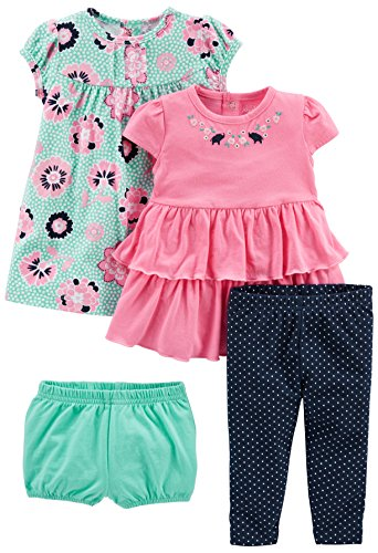 Simple Joys by Carter's Baby Girls' 3-Piece Playwear Set, Pink/Blue, 18 Months