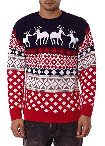 Jiayiqi, maglione natalizio unisex, stile vintage anni '70 4 Reindeer NAVY X-Large