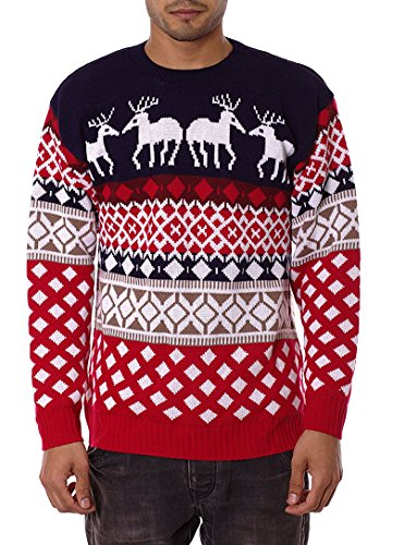Jiayiqi, maglione natalizio unisex, stile vintage anni '70 4 Reindeer NAVY Medium