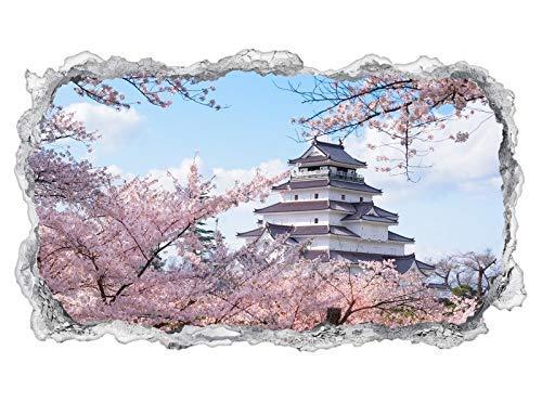 3D Wandtattoo Palast Oriental Architektur Japan rosa Wand Aufkleber Durchbruch Stein selbstklebend Wandbild Wandsticker 11N978, Wandbild Größe F:ca. 97cmx57cm