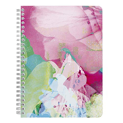 Clairefontaine 115443C - Cuaderno de espiral Egérie 14, 8 x 21 cm, 120 páginas, rayado, con 3 bolsillos de calco de color, modelo aleatorio