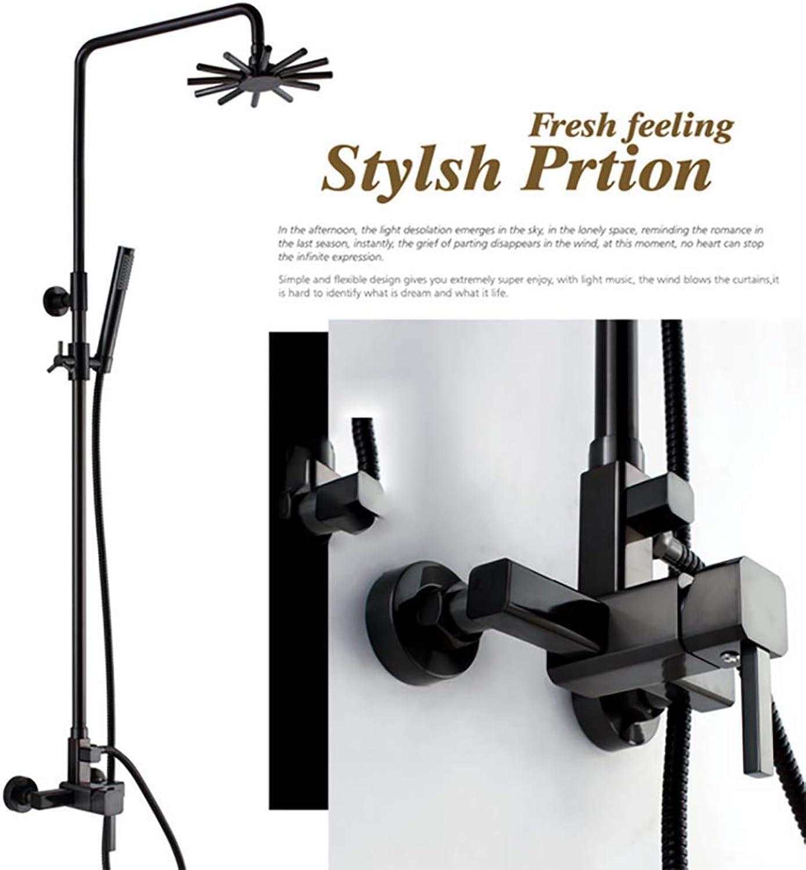 Duschsystem-duschsule Mit Regendusche,schwarz, Kalt Und Hei, Temperaturempfindlich,dusche Mit 2 Funktionen,hhenverstellbar, Duschset Mit Flexibler.