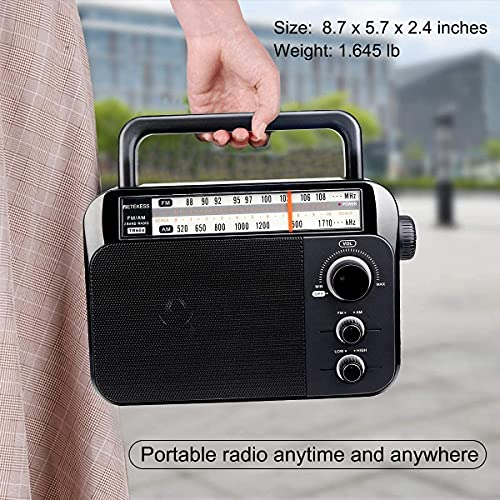 Retekess TR604 AM FM Radio, Portable Simple Plug in Radio with Easy Operation, Powered by 3 D Batteries or AC 110V, Suit for Senior and Home (Black)