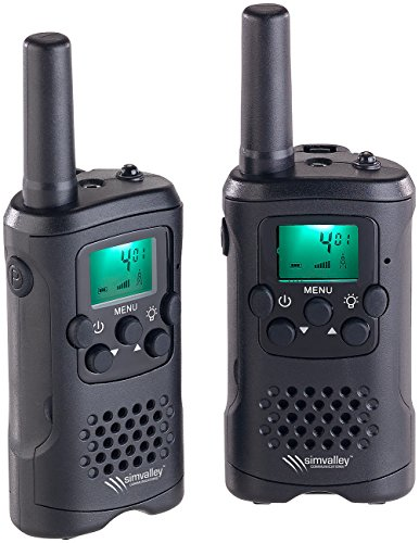 simvalley communications Walkie Talkie: 2er-Set PMR-Funkgeräte mit VOX, bis 10 km Reichweite, LED-Taschenlampe (Walkie Talkie VOX Funktion)