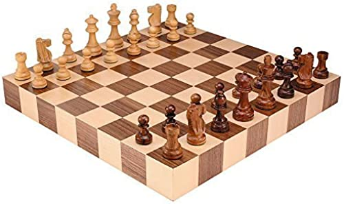 Athena Tournament Chess Inlaid Wood Board Game with Weißhted Wooden Pieces - 18 Inch Set by Best Chess Set