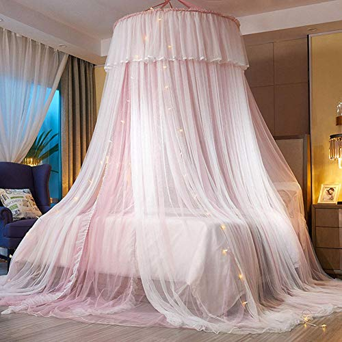 Mosquitera de hilo de doble capa con cadena de luz LED, cúpula con dosel para cama doble, tienda de campaña para cama colgante de princesa para camas individuales a tamaño king-Rosa