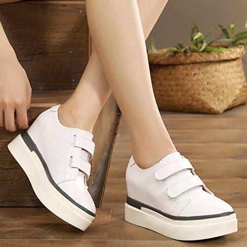 GTVERNH-El Aumento De Tacon zapatos blancos zapatos De plataforma 4Cm De zapatos Calzado Casual,Treinta Y Nueve,blanco