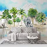 Qqasd Papel pintado en 3D dibujado a mano elefante bosque tropical dormitorio para Kisd habitación Mural Pared Papel Hogar Decoración Sala de estar Sofá-150x105CM