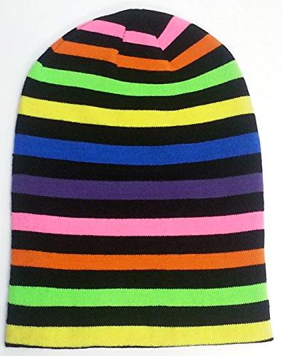 7'X Collections Jamaïque Rasta et Multi Couleurs Slouch Beanie Caps - -