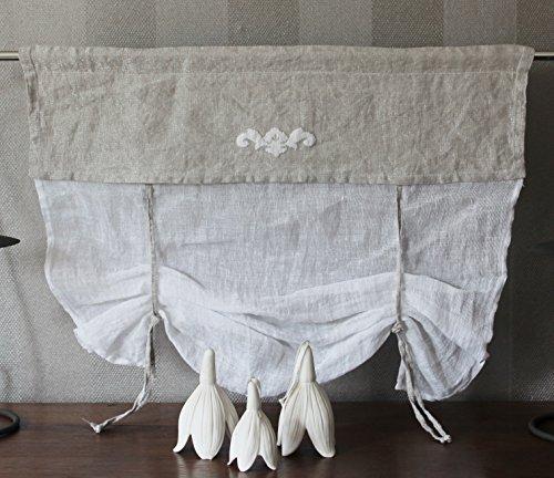 Studio in Shabby Raffgardine Scheibengardine echter leinen Grau weiß nach Maß möglich B80/H60 cm)