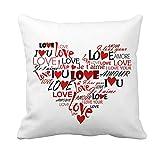 VORCOOL Regalo de San Valentín - Funda de almohada cuadrada Patrón de amor Love Te amo 'Funda de cojín Cómoda...