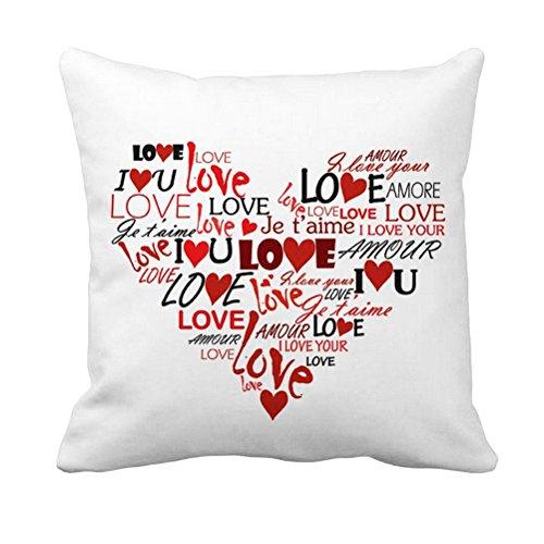 VORCOOL Regalo de San Valentín - Funda de Almohada Cuadrada Patrón de Amor Love Te Amo 'Funda de cojín Cómoda Funda de Almohada de algodón Suave para Novia Esposa Tamaño de la Madre 18