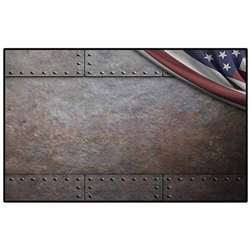 American Bathroom mats and Rugs Indoor Outdoor Rugs USA Flag Over Rusty Textured Armor Plaque Military National Defense Designed Print for Home Kids Bedroom Dormitory Decor Chair Cover Seat Pad Brown