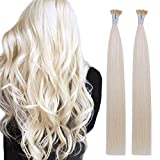 Creamily I Tip Hair Extensions Human Hair Fusion Stick Tip 22 Inch 100% Remy Hair Extensions Cold Fusion Tipped Hair Extensions for Women(#60 Platinum Blonde)