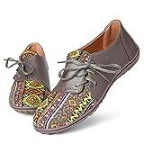 gracosy Zapatos para Mujer Verano Mocasines Planos Cordones cómodos Casuales para Caminar Conducir al Aire Libre Zapatos de Barco Suela Suave