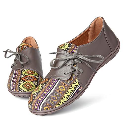 gracosy Damen Mokassins Slipper Sommer Leder Bootsschuhe Freizeit Loafers Bunt Bedrucktes Muster Chic Schuhe Flache Fahren Halbschuhe Schuhe Atmungsaktiv rutschfest Damenschuhe
