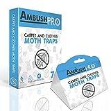 Ambush Pro - Trampas para polillas Trampas de feromonas Adhesivas sin toxinas Que atraen y Matan polillas de alfombras y polillas de Ropa. Paquete de 7 Unidades.