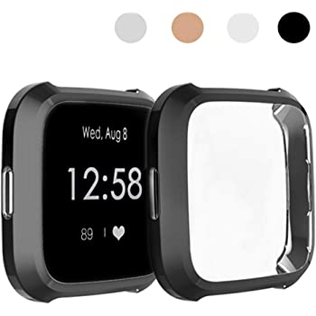 JZK Scratch-Resistant Flexible Lightweight Plated TPU Fullbody All-Around Protective Case for Fitbit Versa 2 SmartWatch Accessories,Pink+Rose Gold+Clear Fitbit Versa 2 Screen Protector 3 Pack
