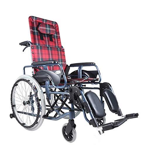 OSL Sillas de ruedas ligeras 23Kg Transporte plegable Silla de ruedas Asiento ergonómico Cómodo reposabrazos ajustable Respaldo Piernas 100Kg Carga de carga Asiento 45 * 46Cm Vagón OSL