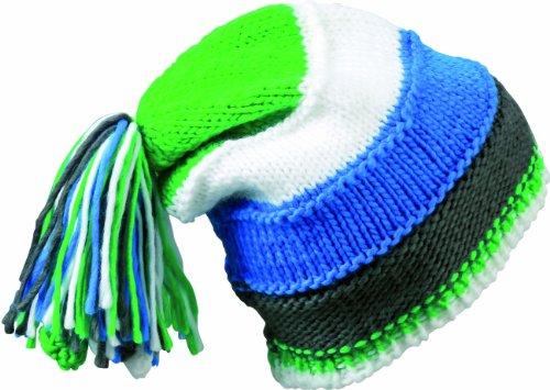 Myrtle Beach Bonnet en Tricot avec Fringes Bonnet tricoté Taille Unique Multicolore - Aqua/Lime-Green/White/Carbon