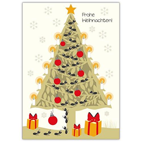Schattige kerstkaart met kerstboom en mieren als boom ketting: Vrolijk kerst! • Als mooie wenskaart met envelop voor Kerstmis aan het einde van het jaar voor familie en bedrijf. 1 Weihnachtskarte