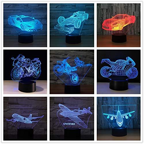 Motorrad Rennwagen Formel Ferrari Deutsche Automarke Flugzeug Flugzeug Modell Swtich 3D LED Nachtlicht USB Tischlampe Kinder Geburtstagsgeschenk Nachtdekoration am Bett