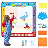 Fansteck Aqua Magic Doodle Mat for Kids 40x40inch, Colorful Water Drawing Mat with 24 Accessories, Early Learning Educational Toy and Ideal Gift for Toddlers Boys Girls 3 4 5 6 7 8, No Mess Design