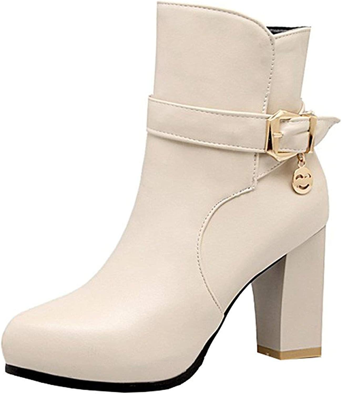 Ghssheh Women's Trendy Buckle Cross Strap Block High Heel Ankle Booties Pointed Toe Side Zipper Short Boots Black 4 M US