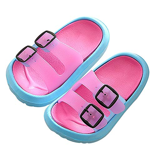 Toddler Boy Girl Sandals Little Kids Slide Non-Slip Beach Water Shoes Lightweight Shower Pool Summer Slippers Rose Red