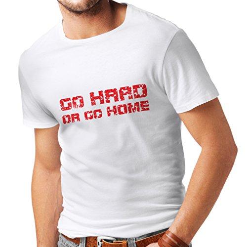 Männer T-Shirt Go Hard or Go Home! - Sprechen für Motorradfahrer, für Biker, für Skater, Roller (X-Large Weiß Mehrfarben)