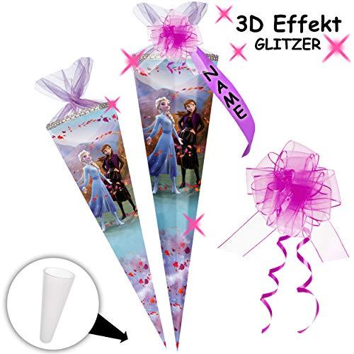 alles-meine.de GmbH mit _ 3D Glitzer - Effekt ! _ Schultüte - Disney die Eiskönigin 2 - Frozen - 85 cm - 12 eckig - incl. individueller Schleife - mit Namen - Organza Abschluß - ..