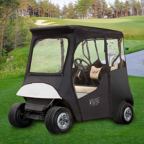 """10L0L Golf Cart Deluxe Enclosures Fits EZGO TXT, for Most 2 Passenger Golf Cart 600D Waterproof Portable 4-Sided Protection Transparent Golf Cart Cover(Roof up to 59"""" L)"""