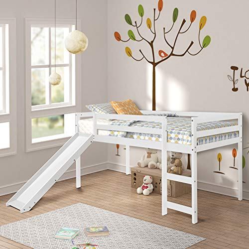 P PURLOVE Loft Bed with Slide Wood Loft Bed Frame Twin Bed...