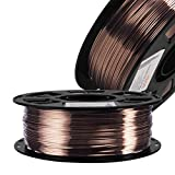 Silk Coffee Gold PLA Filament Metallic Shiny 3D Printing Material, 1.75mm Diameter 1kg Spool 2.2lbs, Widely Fit for FDM 3D Printers with One Bag Filament Sample Gift