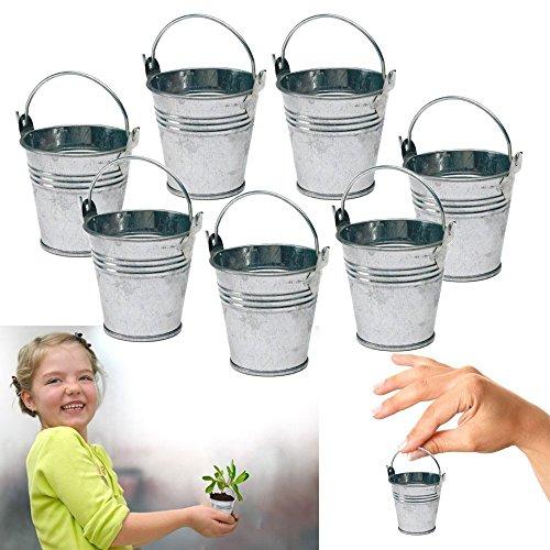 Dazzling Toys 6 Mini Metal Buckets Tin Party Pail Containers Wedding Souvenir