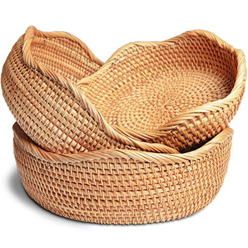 Handmade Rattan Round Woven Rustic Basket, Flower-Shaped Bread Basket Round Tabletop Rattan Woven Snack Fruit Serving Bowls (Set of 3)