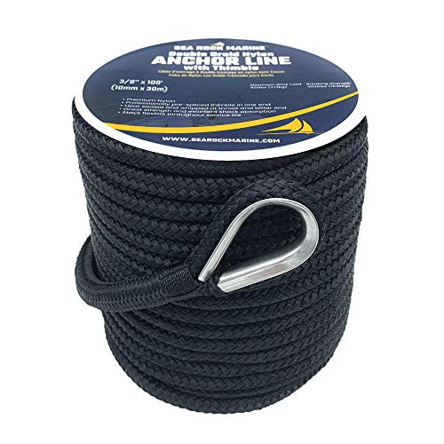 """Sea Rock Marine 100' x 3/8"""" Double Braid Nylon Anchor Rope with 316SS Thimble - Anchor Line for Boats, Quality Boat Rope, Marine Rope, Boat Accessories - Black"""