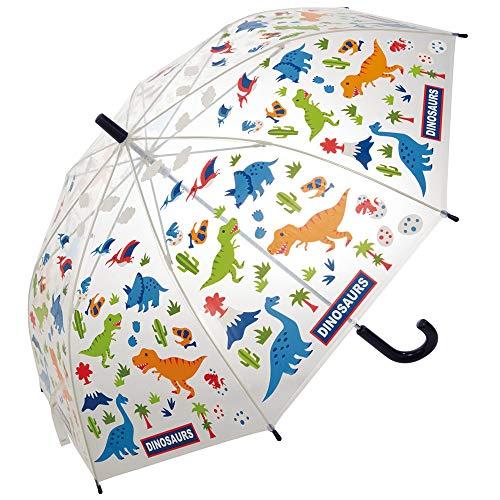 全体が透明なビニール傘にポップな恐竜たちがプリントされたかわいらしい傘です。ひとコマだけの透明窓と違って、全方位見ることができるので安全ですよね。傘をさしている子供の様子も、ママが外から確認することができるところも嬉しいポイント。  リーズナブルなので、二本目の予備用傘として用意しておいてもいいですね。