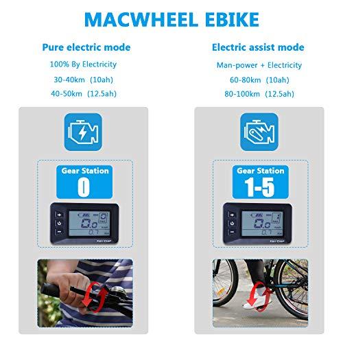 Macwheel 27.5' Electric Mountain Bike, 500W Hub Motor, Removable 48V/10Ah Lithium Battery, Shimano 7-Speed, Suspension Fork, Tektro Dual Disc Brakes, 15.5mph Mountain Electric Bikes