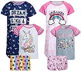 dELiAs Girls' Pajama Sets – 6 Piece Nightshirt, Tank Top, and Shorts Sleepwear Set (Little Girl/Big Girl), Size 14/16, Unicorn Squad/Dreamer