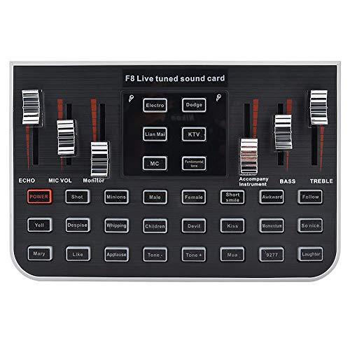 F8 Live Sound Card Voice Changer, Meerdere Grappige Geluidseffecten, Audiomixer Voor Het Opnemen Van Youtube Liveme Facebook Live Periscope Anchor