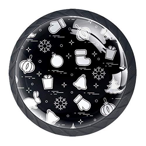 Pomos de Negro Cristal Calcetines de regalo de Navidad RedondoTiradores de Muebles 4 Piezas 35mm Hecho a Mano Pomos para Alacena Baño Cocina Gabinetes Pomos Para Armarios Infantiles