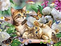 猫のジグソーパズル-大人の1000ピースのジグソーパズルクラシックジグソーパズル-こどもの日のギフト-かわいい猫の蝶と花のジグソーパズル