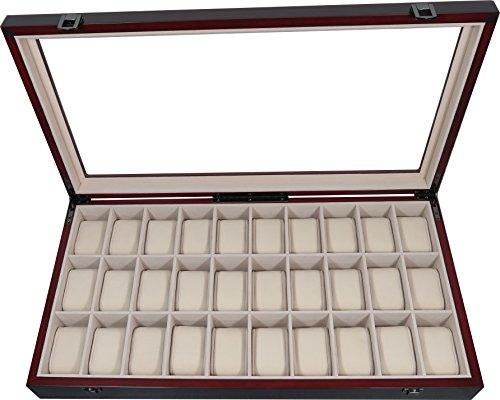 Uhrenbox Holz für 30 Uhren Farbe Kirschbraun Uhrenvitrine Uhrenschatulle