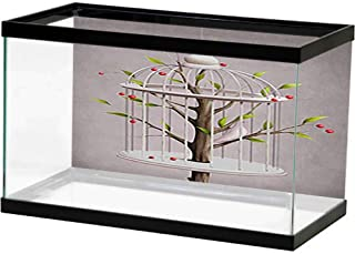 bybyhome Aquarium Background Sticker A Tree with a cage and a White Bird Paper Cling
