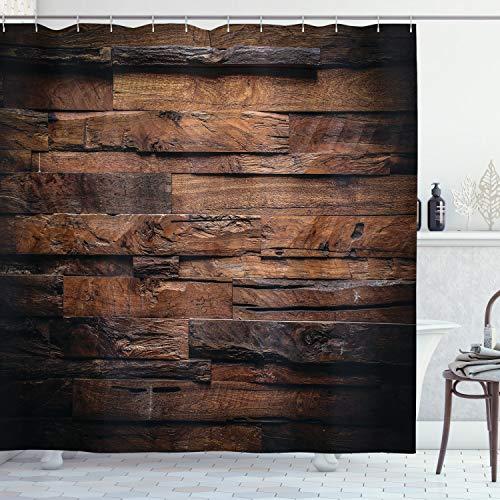 ABAKUHAUS Schokolade Duschvorhang, Grobes Dunkles Holz, mit 12 Ringe Set Wasserdicht Stielvoll Modern Farbfest & Schimmel Resistent, 175x200 cm, Dunkelbraun Braun