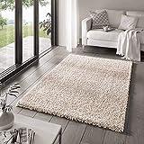 Taracarpet Shaggy Teppich Wohnzimmer Venezia Hochflor Langflor Teppiche modern Creme 140x200 cm