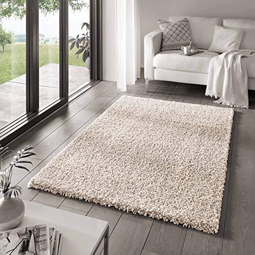 Taracarpet Shaggy Teppich Wohnzimmer Venezia Hochflor Langflor Teppiche modern Creme 160x230 cm