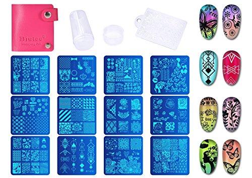 Biutee 12 Stück Stamping Schablone Nail Art Plates Nagel Stempel Maniküre Stempel Schablonen für Nägel, Fingernaegel Stempel Set