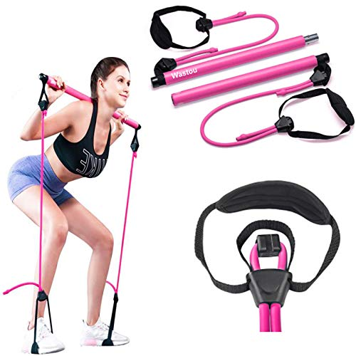 Pilates Bar, Wastou Portable Pilates Bar Kit with Adjustable Resistance Band for Different Height, Home Gym Exercise Stick Yoga Bar with Foot Loop for Hipsline, Stretching, Muscle Toning (Pink)